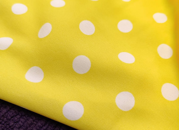 Yellow Happy Polka Poly Crepe