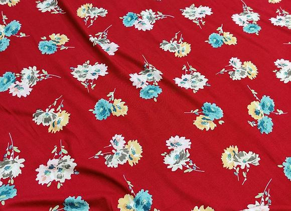 Red Irregular Floral Viscose Challis