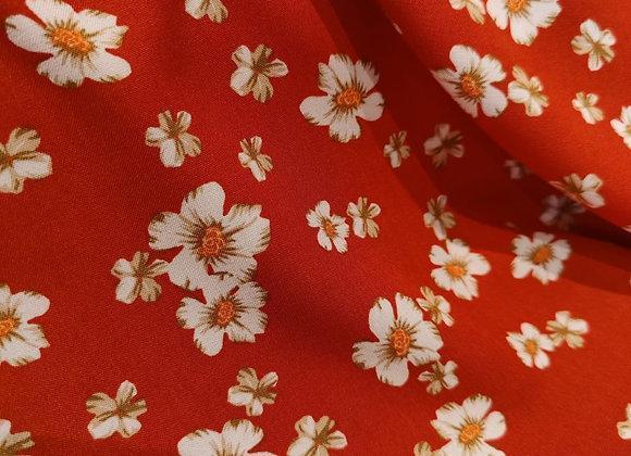 Harriet Brick Red Floral Viscose Challis