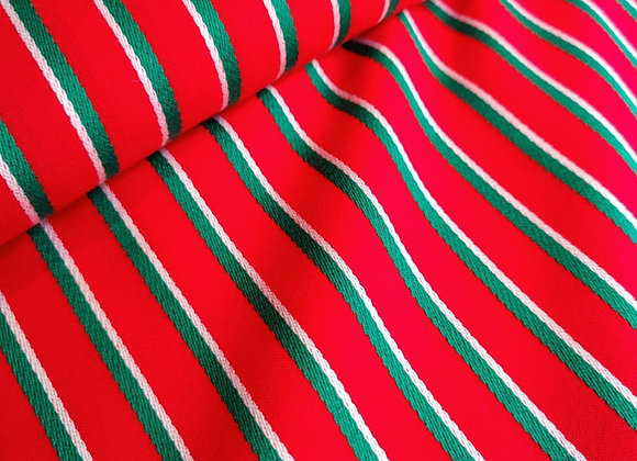 Red/Green Stripe Viscose Poly Suiting - 3.5 metre piece