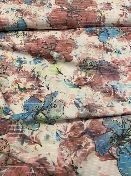 Watercolour Flower Ribbed Effect Viscose