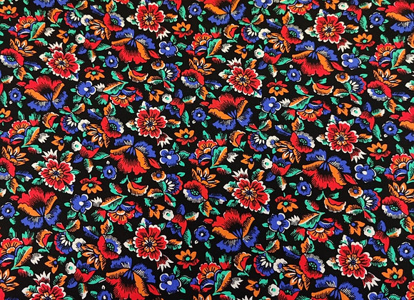 Blue/Red Floral Viscose Linen
