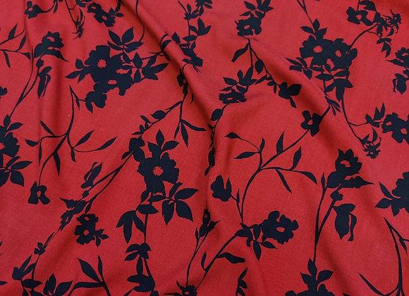 Dark Red Floral Viscose Challis - 3 metre piece