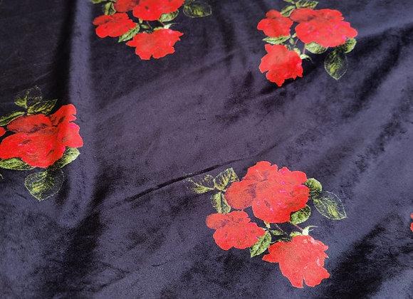 Navy Floral Cotton Velvet