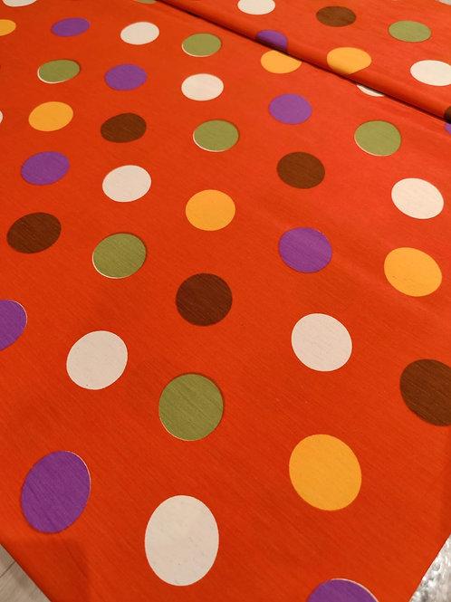 Orange Polka Dot Poly Crepe - 3.5m