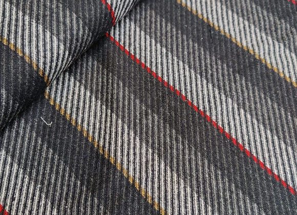 Grey Twill-Look Stripe 100% Wool