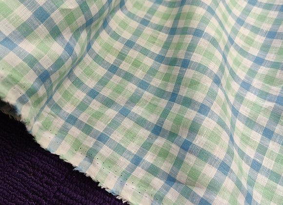 Green/Blue Gingham Irish Linen
