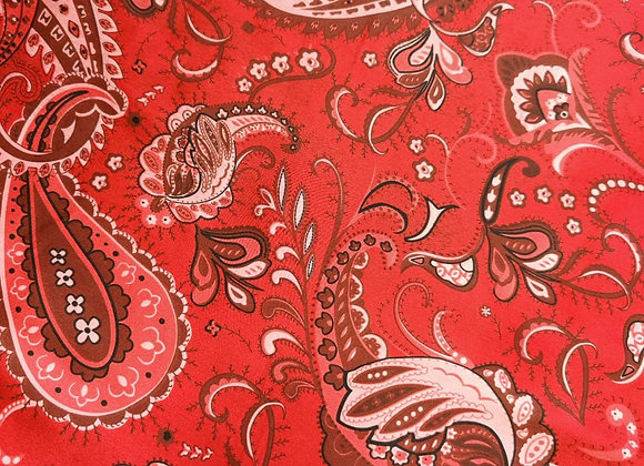 Red Paisley Satin