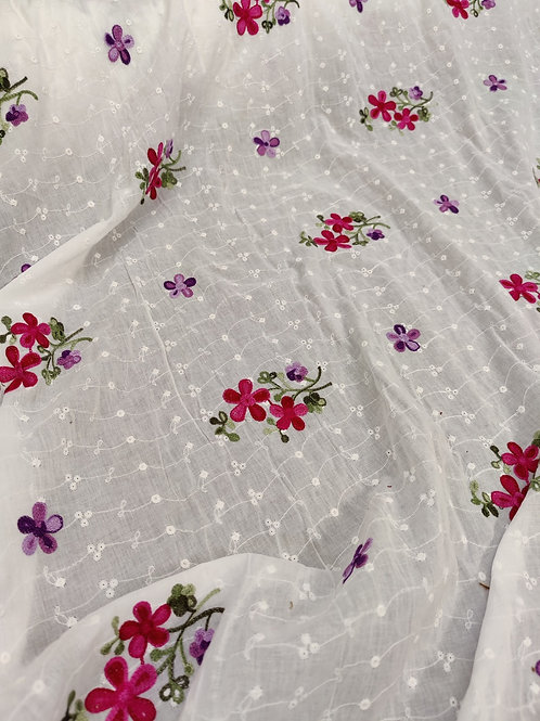 White Embroidered Floral Cotton