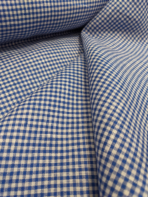 Royal Blue Gingham 100% Irish Linen