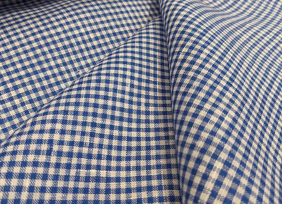 Royal Blue Gingham 100% Irish Linen
