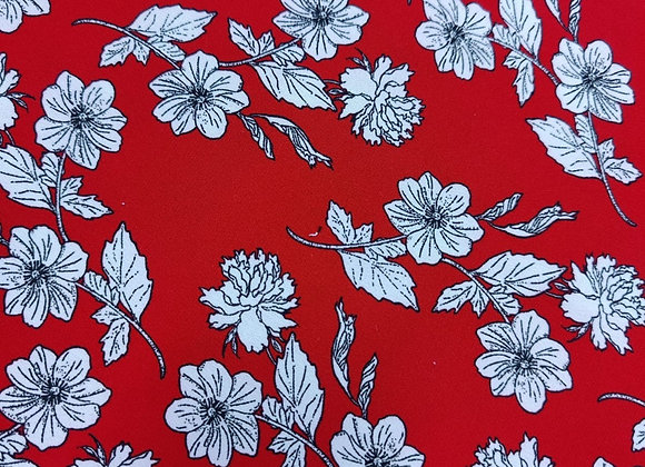 Red Floral Poly Viscose Crepe - 3 metre piece