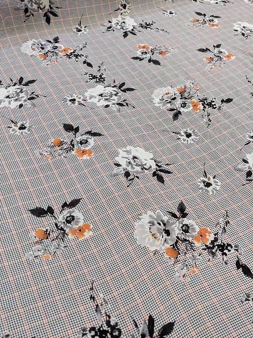 Check Dogtooth Floral Viscose