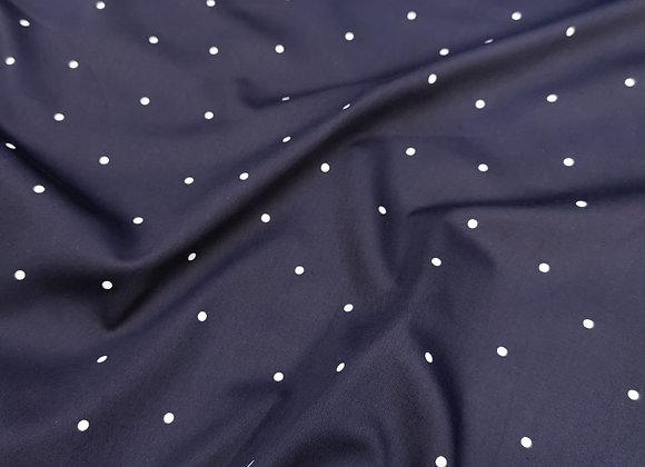 Dark Navy Irregular Polka Dot Cotton Poplin