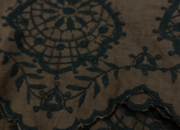 Brown Embroidered 100% Cotton