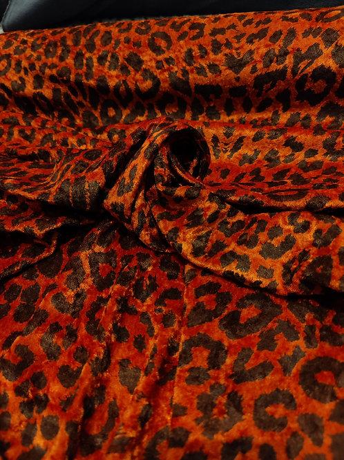 Rust Leopard Print Velvet
