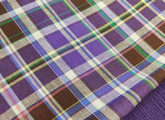 Purple/Brown Tartan Irish Linen