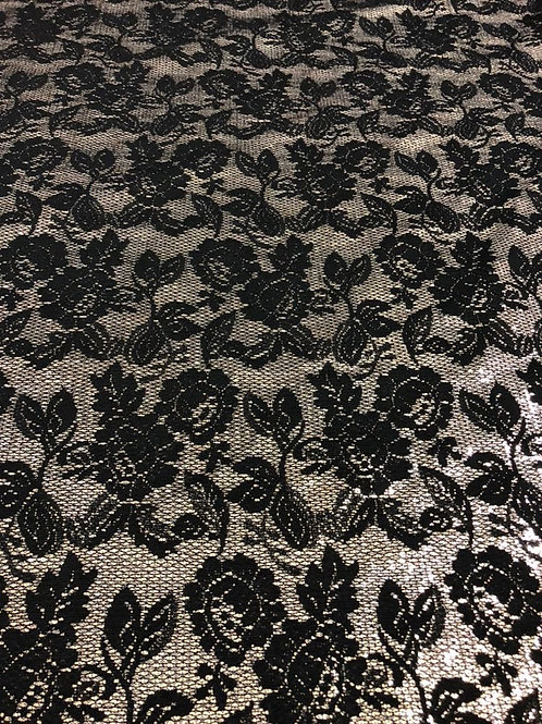 Black Floral Lace With Ivory Lining