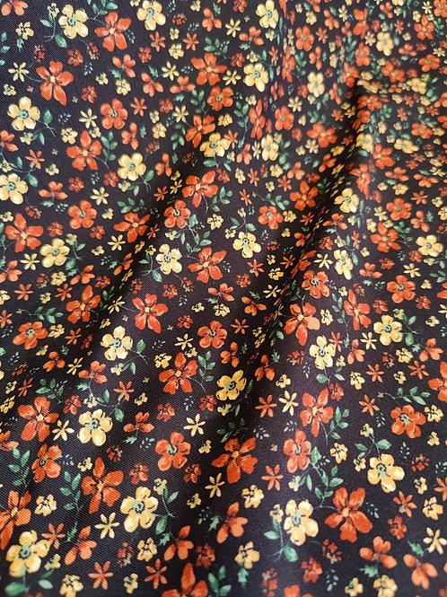 Rust/Yellow Floral Viscose Belmando Twill
