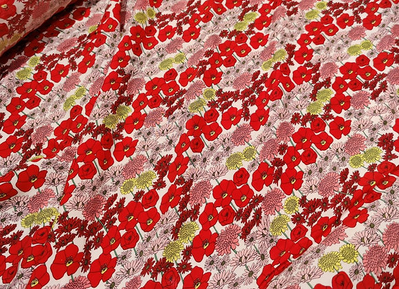 Red Floral Bouquet Viscose Challis - 3 metre piece