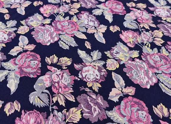 Navy Digital Retro Floral Viscose Challis  - 3 metre piece