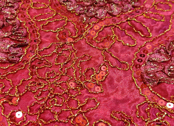 Red fancy satin Fabric