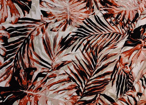Burnt Orange Palm Leaves Viscose Challis - 3.15m piece
