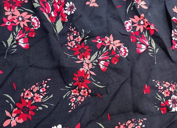 Black/Red Floral Viscose Challis - 1.10m piece