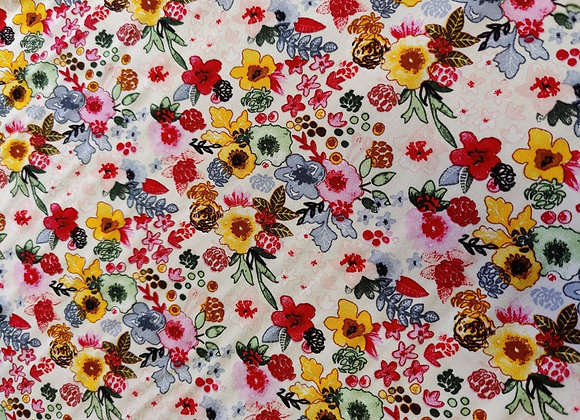 Ivory Floral Party Viscose Challis