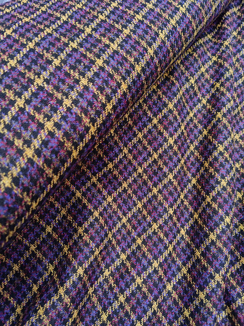 Purple check 100% Wool