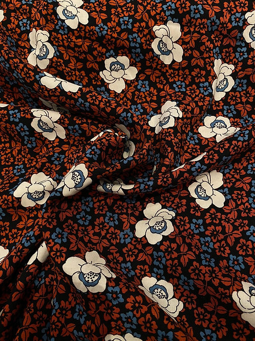 Rust/White Floral Viscose