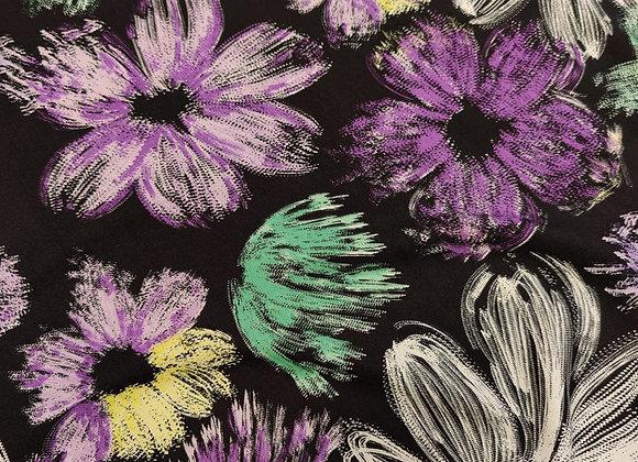 Purple Sketch Viscose Challis