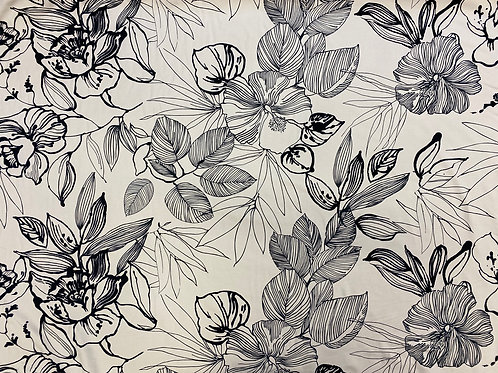 Sketched Floral Cotton Loopback Jersey