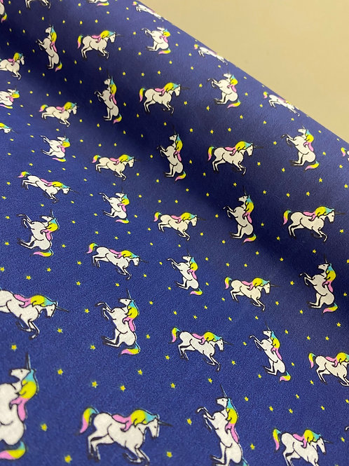 Navy Blue Unicorn PolyCotton