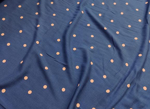 Blue/ Blush Irregular Polka Dot Viscose Challis