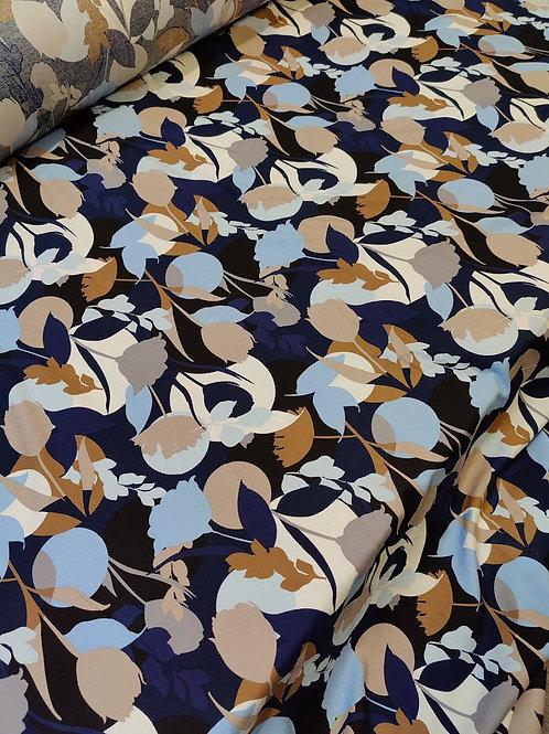 Beige/Blue Flower Viscose Challis
