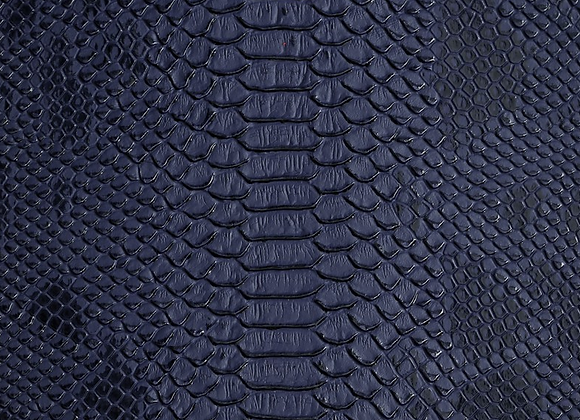 Navy Blue Lizard Print Leather