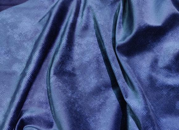 Blue Faded Check Cotton Velvet
