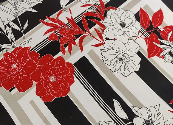 Panel Red Floral Poly Viscose Crepe - 3 metre piece