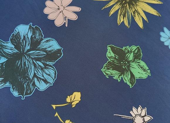 Indigo Blue Floral Satin