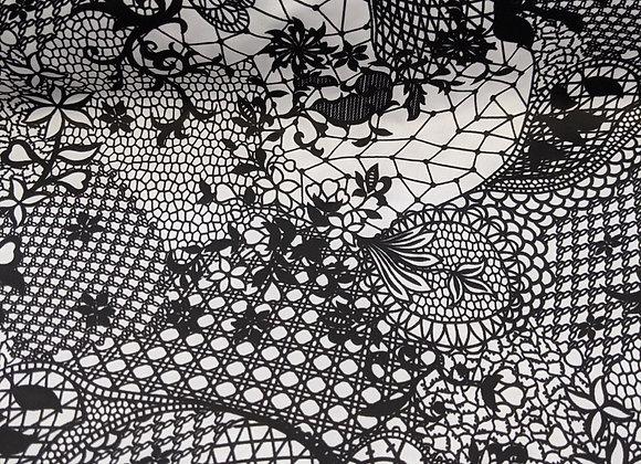 Black & White Poly fabric  - 3 metre piece