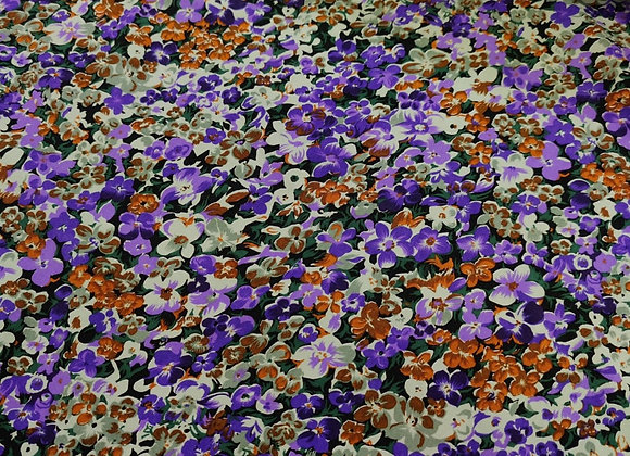 Purple/Rust Floral Viscose Challis