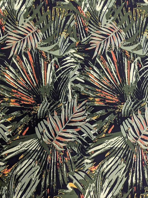 Khaki Green Palm Leaves Viscose