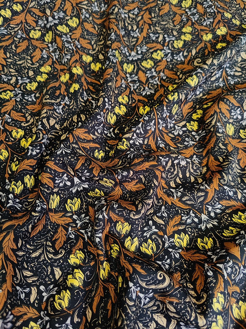 Yellow/Orange Heavy Floral Viscose Twill