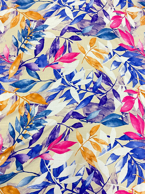 Vibrant Pink/Blue Watercolour Leaves Viscose