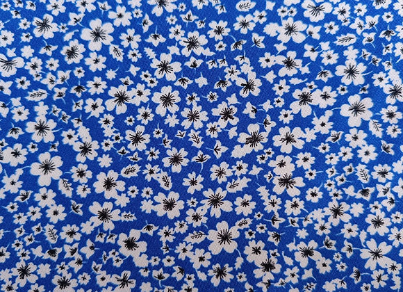 Cobalt Blue Floral Viscose Challis