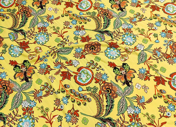 Yellow Floral Forest Viscose Challis