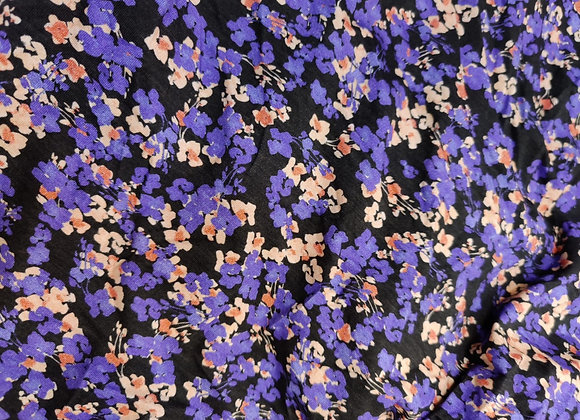 Purple Floral Jersey - 1.30m piece