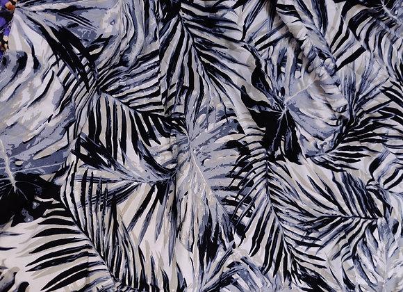 Grey Palm Viscose Challis - 0.90m piece