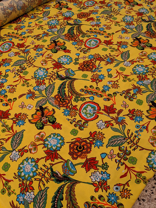 Yellow Floral Viscose